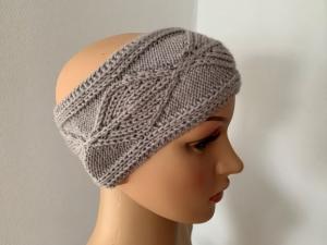 Handgestricktes graues Stirnband mit Cashmere - Handarbeit kaufen