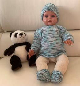 Gestricktes Babyset in frühlingsfrischer Baumwolle in Größe 62/68 - Handarbeit kaufen