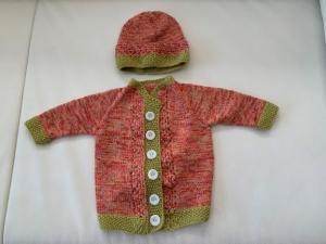 Gestricktes Babyset in Rotmeliert in Größe 56/62 - Handarbeit kaufen