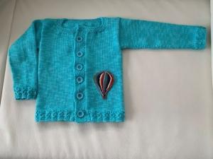 gestrickte Babyjacke aus 100 % Baumwolle in Größe 80/86 in Hell türkis