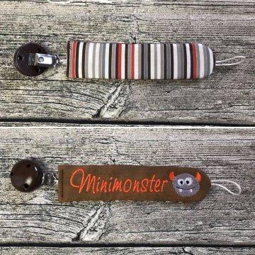 Schnullerband / Schnullerkette bestickt Minimonster
