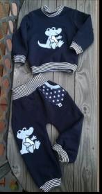 Sweatshirt und Pumphose -Dino - in den Gr.74/80 bis 122/128  aus Sweat    - Handarbeit kaufen