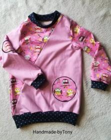 Langarmshirt / Pulli  - Eulen  - in den Gr.62/68 bis.128 aus Jersey  - Handarbeit kaufen