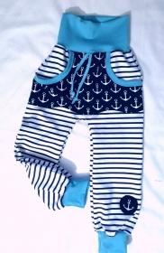 Babyhose / Kinder Pumphose - Maritim 6- in der Gr.50/56 bis 122  aus Jersey   - Handarbeit kaufen