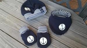 3 tlg.Set aus Handschuhen, Mütze und Tuch - Maritim - in den Gr.50/56 bis 62/68  aus Sweat  - Handarbeit kaufen