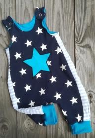 Baby- Strampler / Latzhose  - Stern blau - in den Gr.50/56 bis 86/92  aus Jersey   - Handarbeit kaufen