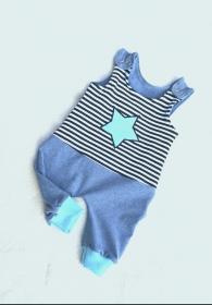 Baby- Strampler / Latzhose  - Stern türkis - in den Gr.50/56 bis 86/92  aus Jersey    - Handarbeit kaufen