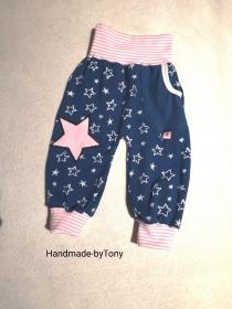 Babyhose /Pumphose- Sterne blau- in den Gr. 50/56 bis 122 aus Jersey  - Handarbeit kaufen