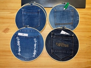 Utensilo für Kleinteile: HolzLoop groß mit Jeanstasche - Handarbeit kaufen