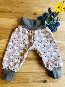 Pumphose Baby Größe 68 mit Hasenmotiv in grau kaufen - Handarbeit kaufen