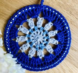 Wanddeko, Fensterdeko, Deko fürs Kinderzimmer in blau, silber  - Handarbeit kaufen