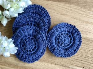 Wiederverwendbare Kosmetikpads im 4er Pack in blau umweltfreundlich - Handarbeit kaufen