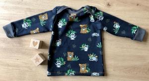 Jungenpullover Waldtiere Grösse 68, French Terry, Waschbärliebe - Handarbeit kaufen