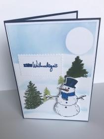 Weihnachtskarte mit Tannen und Schneemann,gefertigt aus Stampin up Farbkarton und Maskiertechnik - Handarbeit kaufen