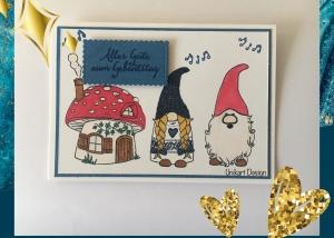 Geburtstagskarte mit Wichteln, aus Stampin Up Farbkarton (Blau Weiß)  Handgefertigt - Handarbeit kaufen