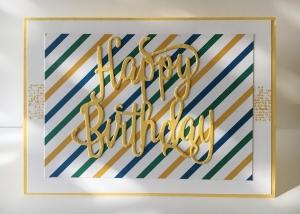 Glückwunschkarte zum Geburtstag mit Grusstext  in Handarbeit gefertigt aus Karton in Grün,Gelb,Blau - Handarbeit kaufen