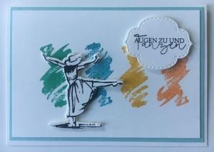 Grußkarte aus Karton gebastelt , mit Grußtext  ♡ Augen zu und Tanzen ♡  - Handarbeit kaufen