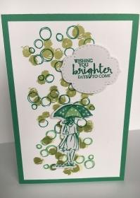 Grußkarte aus Karton gebastelt , mit Grußtext  Wish you brighter Days to come   - Handarbeit kaufen