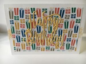 Glückwunschkarte zum Geburtstag mit Grusstext in Handarbeit gefertigt aus Karton  - Handarbeit kaufen