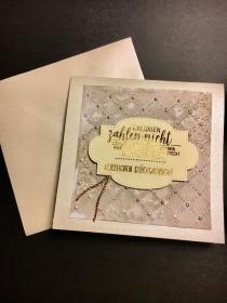 Geburtstagskarte mit Grußtext, aus Karton in Handarbeit gefertigt, Creme Kupfer Töne  - Handarbeit kaufen