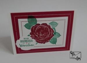 Grußkarte zu Valentinstag Hochzeit Geburtstag mit Grußtext mit roter Rose aus Karton handgefertigt gebastelt - Handarbeit kaufen