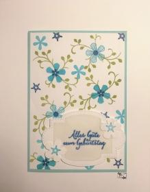 Grußkarte zum Geburtstag mit Grußtext und Türkis-Grünen Blüten aus Karton handgefertigt gebastelt - Handarbeit kaufen