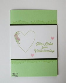Glückwunschkarte zum Valentinstag mit Grusstext und Herz Handgefertigt aus Stampin'up! Farbkarton - Handarbeit kaufen