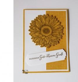 Stampin'Up! Gute-Laune- Grußkarte mit Grusstext Handgefertigt aus Farbkarton in Gelb/Braun mit Sonnenblume  - Handarbeit kaufen