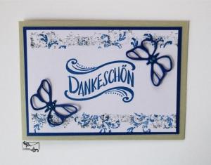 Stampin'Up! DANKESCHÖN Grußkarte mit Grusstext Handgefertigt aus Farbkarton in Blau-Grau mit Schmetterlingen - Handarbeit kaufen