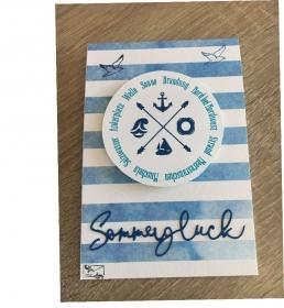 Maritime Grußkarte aus Karton gebastelt mit Grußtext  ☀ Sommerglück ☀   - Handarbeit kaufen