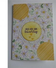 Stampin'Up! Handgefertigte Geburtstagkarte mit Grußtext In Pastellfarben und Blüten  - Handarbeit kaufen
