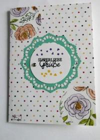 Stampin'Up! Grußkarte mit Grußtext In Pastellfarben und Blüten Handarbeit - Handarbeit kaufen