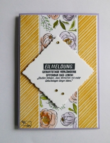 Stampin'Up! Geburtstagkarte mit Grußtext In Pastellfarben und Blüten Handarbeit - Handarbeit kaufen