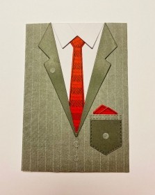 ♂ Männerkarte♂ für alle Anlässe ohne Grußtext Rot/Grau Handarbeit Stampin'Up! - Handarbeit kaufen