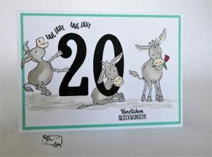 Glückwunschkarte zum Runden 20. Geburtstag mit Grusstext Handgefertigt Stampin'Up! - Handarbeit kaufen