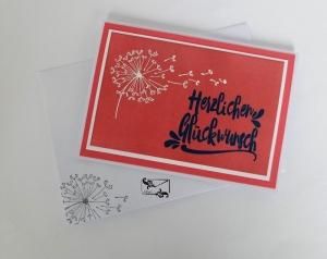 Stampin'Up! Grußkarte mit Pusteblume und Grußtext Pastell Handarbeit  - Handarbeit kaufen