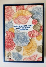 3D Maritime Geburtstagskarte mit Muscheln aus Karton gebastelt - Handarbeit kaufen