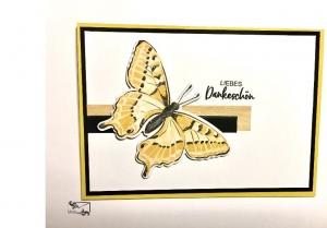 ♡ Danksagungskarte ♡ mit gelben Schmetterling & Grusstext Handgefertigt mit Stampin'Up! - Handarbeit kaufen