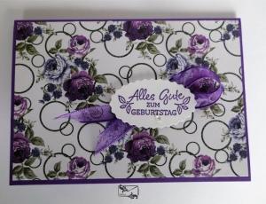 Grußkarte mit Grußtext Handarbeit Lila Töne Stampin up und andere - Handarbeit kaufen