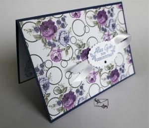 Grußkarte mit Grußtext Handarbeit Lila/Blau Töne Stampin up und andere  - Handarbeit kaufen