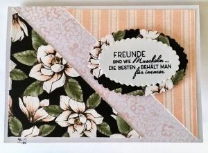Beileidskarte Kondolenzkarte Trauerkarte Handgefertigt in Schwarz-Blüten Rosa