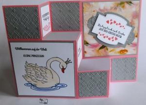 Stampin'Up!3D Große FaltkarteTreppenkarte zur Geburt/Taufe eines Mädchens Handarbeit  - Handarbeit kaufen