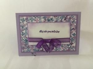 ♡ Muttertagskarte ♡ mit Grusstext in Fliederfarben Handgefertigt Stampin'Up!  - Handarbeit kaufen