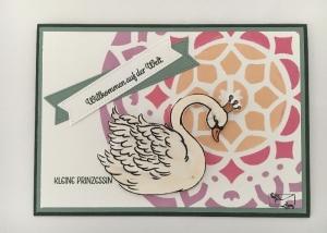 Glückwunschkarte zur Geburt/Taufe, Mädchen,  Bunte Farben, Handarbeit , Stampin'Up!  - Handarbeit kaufen