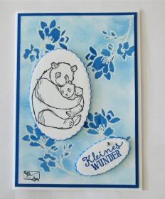 3D Glückwunschkarte zur Geburt/Taufe, Blautöne, Junge, Pandabären Handarbeit Stampin up!  - Handarbeit kaufen