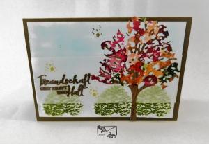 Bunte 3D Freundschaftskarte Grußkarte / Stampin up! Handarbeit   - Handarbeit kaufen