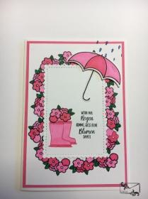 Bunte 3D Grußkarte/ Motivationskarte mit Regenschirm & Gummistiefeln/ Stampin up! Handarbeit  - Handarbeit kaufen