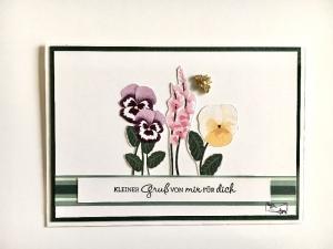 Florale Grußkarte mit Stiefmütterchen Stampin up!  - Handarbeit kaufen