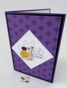 3D Kinder Glückwunschkarte Geburtstagskarte Handgefertigt mit Stampin Up Produkten Lila - Handarbeit kaufen