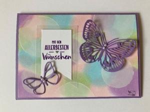 3D Glückwunschkarte für viele Anlässe mit Schmetterlingen + Grußtext Handarbeit Pastell Töne   - Handarbeit kaufen